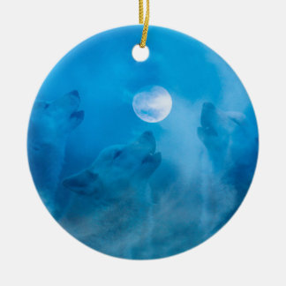 Wolves and Moon Native American Gifts Christmas Ornament