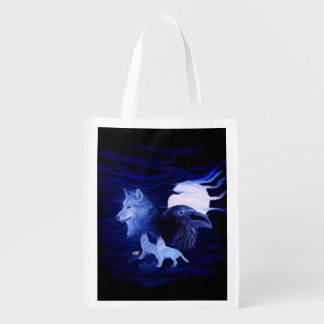 Wolves and Raven with full moon Reusable Grocery Bag
