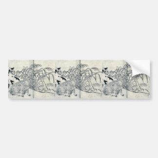 Wolves and winter by Tachibana, Morikuni Ukiyoe Bumper Sticker