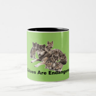Wolves Are Endangered Two-Tone Coffee Mug