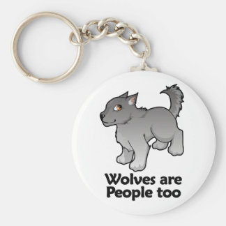 Wolves are People too Basic Round Button Key Ring
