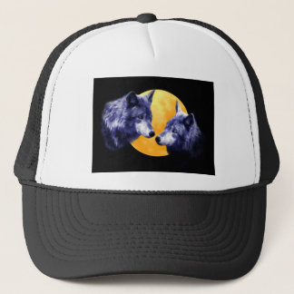 Wolves at full moon trucker hat