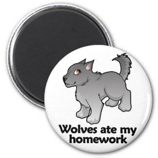 Wolves ate my homework 6 cm round magnet