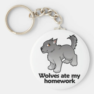 Wolves ate my homework basic round button key ring