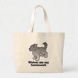 Wolves ate my homework jumbo tote bag