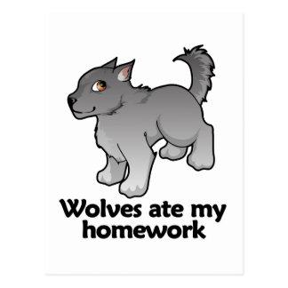 Wolves ate my homework postcard