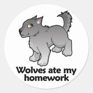 Wolves ate my homework round sticker