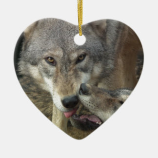 Wolves Ceramic Heart Decoration