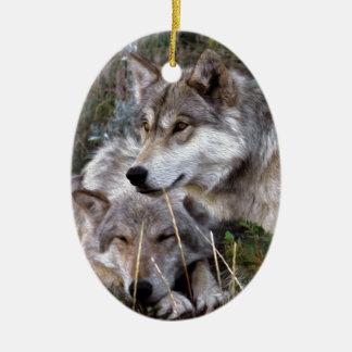 Wolves ~ Digital Oil Paining Christmas Ornament