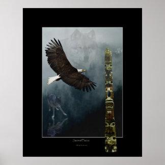 Wolves, Eagle & Totem Art Poster