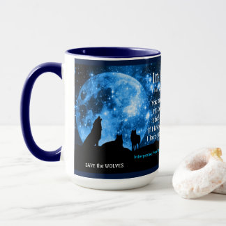 Wolves howl at full moon, with Mayan teachings Mug