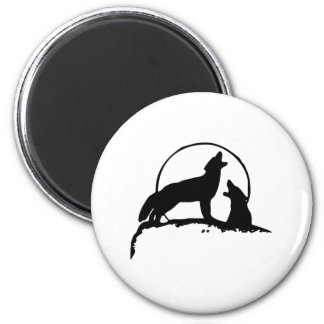 Wolves Howling at the Moon Fridge Magnet
