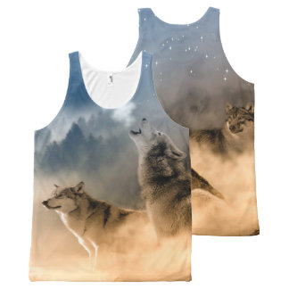 Wolves Howling at the Moon Tank Top All-Over Print Tank Top