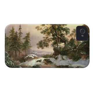 Wolves in a Winter Landscape (oil on panel) Case-Mate iPhone 4 Case