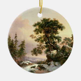 Wolves in a Winter Landscape (oil on panel) Christmas Ornament