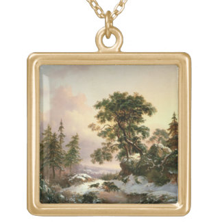 Wolves in a Winter Landscape (oil on panel) Personalized Necklace