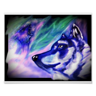 Wolves in an aura poster