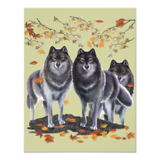 Wolves In Fall 11 Cm X 14 Cm Invitation Card
