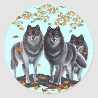 Wolves In Fall Classic Round Sticker