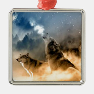 Wolves In Moonlight Silver-Colored Square Decoration