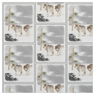 Wolves in Snow Fabric
