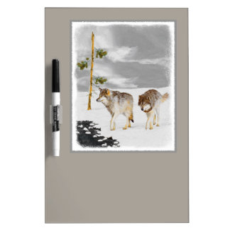 Wolves in Snow Painting - Original Wildlife Art Dry Erase Board