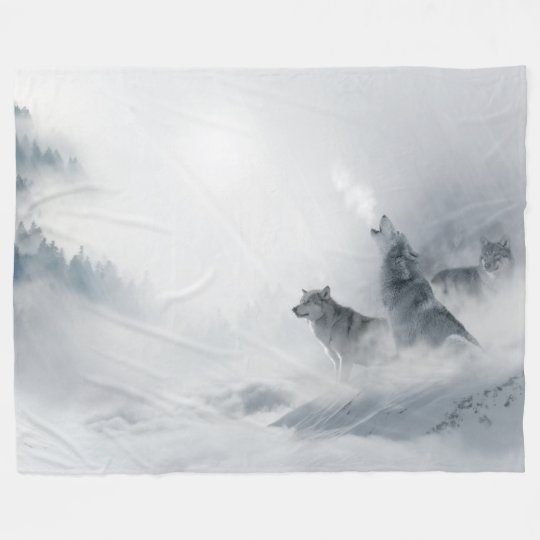 Wolves In The Mist Fantasy Fleece Blanket