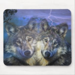 Wolves in the night mouse pad
