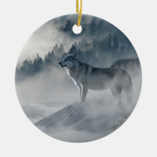 Wolves In Winter Ceramic Ornament