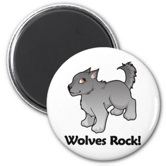Wolves Rock! 6 Cm Round Magnet
