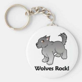 Wolves Rock! Basic Round Button Key Ring