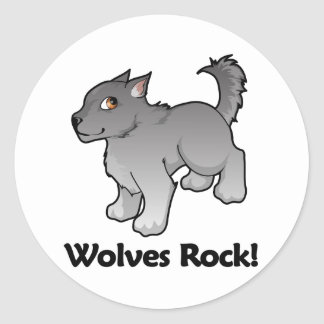 Wolves Rock! Classic Round Sticker