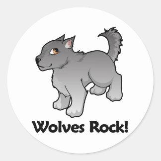 Wolves Rock! Round Sticker