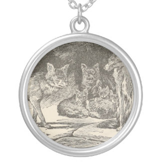Wolves Round Pendant Necklace