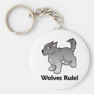 Wolves Rule! Basic Round Button Key Ring