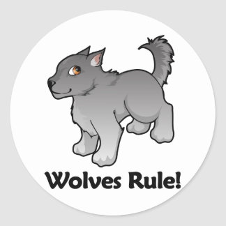 Wolves Rule! Round Sticker