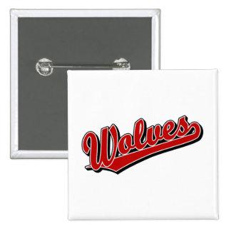 Wolves script logo in red 15 cm square badge