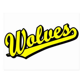 Wolves script logo in yellow postcard