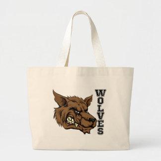 Wolves Sports Mascot Large Tote Bag