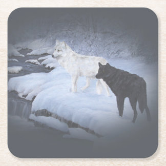 Wolves Square Paper Coaster