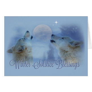 Wolves Winter Solstice Blessings Card