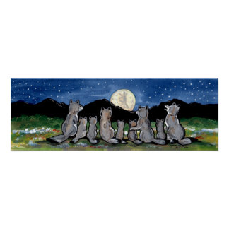 Wolves Wolf Pack Howling Moon Stars Night Poster