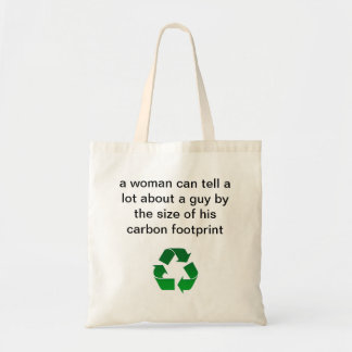 woman a guy by size of his carbon footprint tote canvas bag