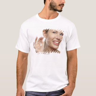 Woman against white background flossing teeth, T-Shirt