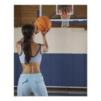 Woman aiming at hoop with basketball rear view posters