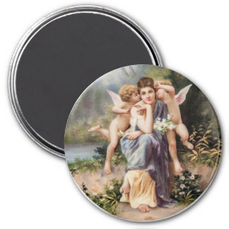 Woman and angels refrigerator magnets