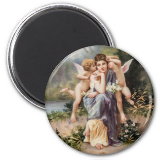 Woman and angels magnets