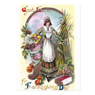 Woman and Autumn Bounty Vintage Thanksgiving Postcard