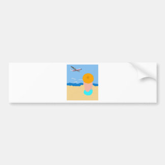 Woman and Beach Bumper Sticker