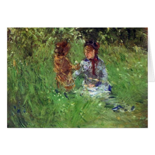 Woman and child in garden in Bougival by Morisot Card